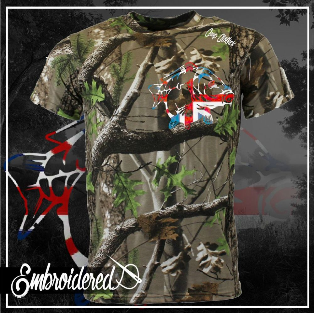 034 EMBROIDERED TREE CAMO T SHIRT
